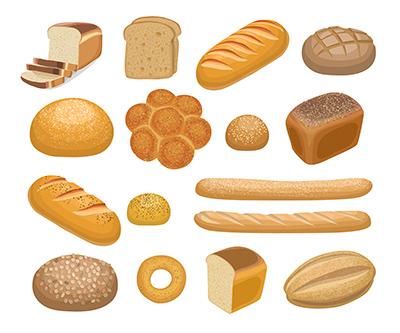 Ilustración de diferentes tipos de pan
